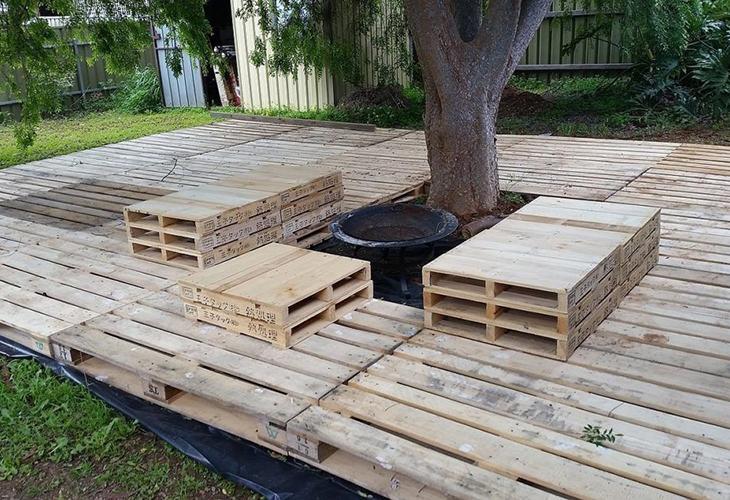 Настил из деревянных поддонов